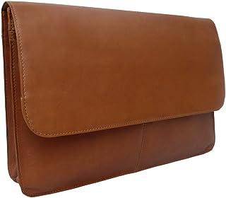 Piel Leather Three-Section Flap Portfolio, Saddle, One Size