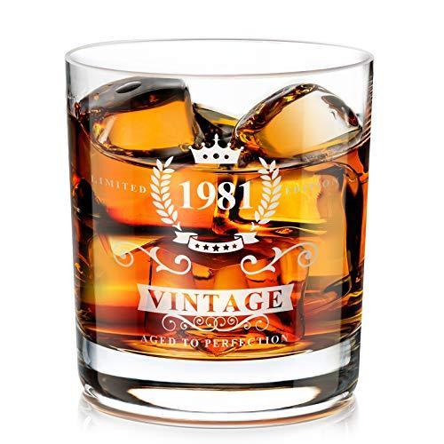 1981 40th Regalo para Hombres, Vaso de Whisky Tradicional Hecho a Mano a la Antigua, Regalo de Los Amantes del Whisky para Papá, Esposo, Amigos, Divertidos Regalos Vintage para el 40 Aniversario