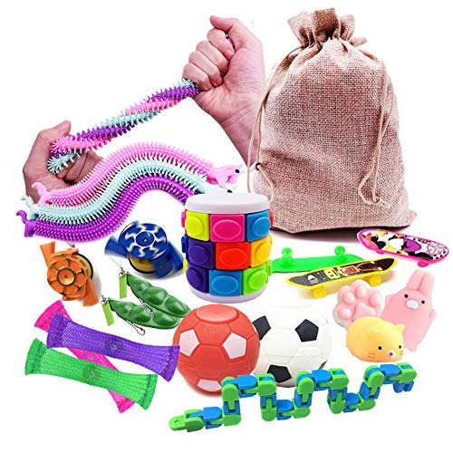 Fidget Toys 19Pcs Sensory Toys Autism Fiddle Toys with Bag Includes Soybean Squeeze,Mesh Elastic Ball,Animal Mochi,Stretchy Strings,Spinning Football,Skateboards,Spinning Top for Gift Party Favors