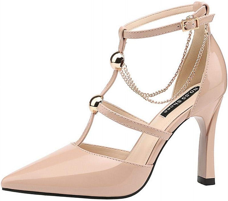 YUKILO Women's Sexy Pointed Single shoes Stiletto Slim High Heel Sandals (color   Aprikosen, Size   38)