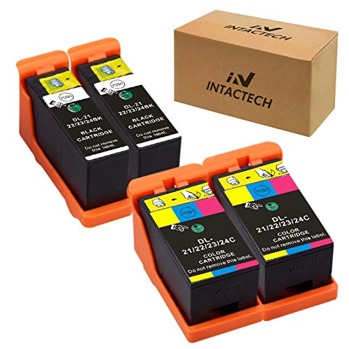 Intactech Replacement for Dell V515w, V715w, V313w, Series 21, Series 22, Series 23, Series 24 Ink Cartridges 4 Pack (2 Black/2 Color) Work for Dell V313, V313w, V515w, V715w, P513w, P713w Printer