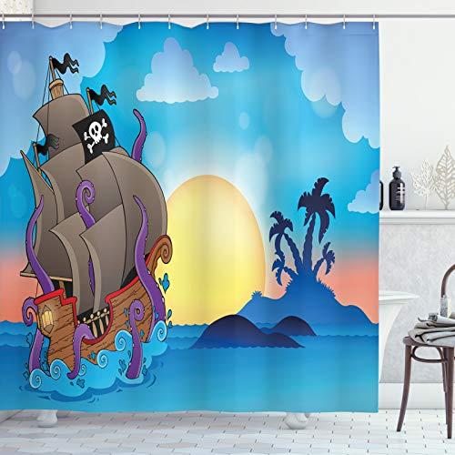 ABAKUHAUS Octopus Schiff Duschvorhang, Nursery Piraten-Karikatur, Trendiger Druck Stoff mit 12 Ringen Farbfest Bakterie & Wasser Abweichent, 175x180 cm, Mehrfarbig