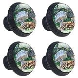 Jungle Animal Tiger Rest Perilla de cajón redonda para estantería de armario para el hogar 4PCS con tornillos