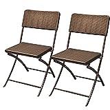 Bakaji Juego de 2 sillas plegables para ahorrar espacio. Muebles de exterior para jardín con asiento y respaldo de polirratán y estructura de acero. Diseño moderno.(marrón)