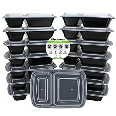 Freshware Meal Prep Containers [15 Pack] 2 Compartment with Lids, Food Containers, Lunch Box | BPA Free | Stackable | Bento Box, Microwave/Dishwasher/Freezer Safe, Portion Control, 21 day fix (25 oz)