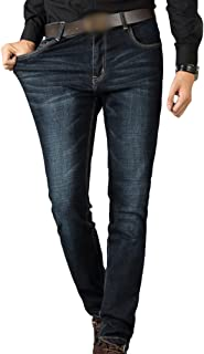 Sentao Men's Jeans High-Elastic Jeans Trousers with Zipper Men's Oversize Slim Straight Fit Jeans Pants