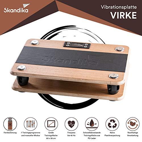 skandika Virke Vibrationsplatte aus Eiche Echtholz, Frequenz bis 40 Hz, 99 Geschwindigkeitsstufen, Fernbedienung, mit Transporttasche aus Baumwolle
