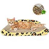 Busirsiz Rascador de cartón para gatos, sofá, cama, rascador, de cartón corrugado, almohadilla para rascar, cama con hierba gatera de 23.6 pulgadas para gatos grandes, leopardo