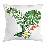Planta Throw Pillow Cojín, Frangipani Florece en Tropical Fern Etic Art Acuarela, Funda de Almohada Decorativa Cuadrada Acnt, 45cm X45 cm, Scarlet Fern Green Marigold