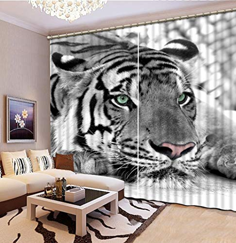 NBVGHJ Sombreado De Lujo 3D Animal Tigre Cortinas Sala De Estar Dormitorio Ropa De Cama Decoración De Fondo De Oficina (Ancho) 150 × (Alto) 180cm