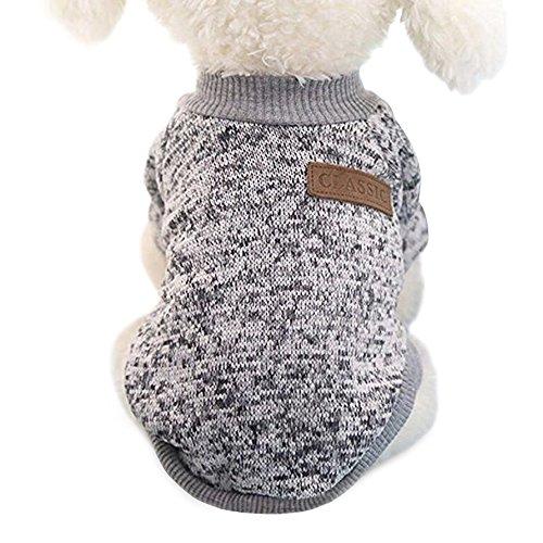 Idepet Haustier Katze Hund Pullover, warme Hund Pullover Cat Kleidung, Fleece Haustier Mantel für Welpen Small Medium Large Dog, Pink & grau (XXL, Grau)