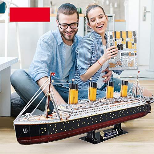 3D tridimensional rompecabezas, versión LED del Titanic Puzzle, Simulación de bricolaje Montado nave modelo, Crucero Modelo Juguetes, juguetes for niños, juguetes educativos ( Color : A , Size : LED )