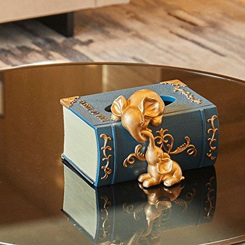 Dongyd Adornos De Caja De Tejido Creativo Multifuncional - 21cm * 18cm * 15cm - 2 Piezas De Oro Resina Elefante Elefante Artesanía Decoración del Dormitorio