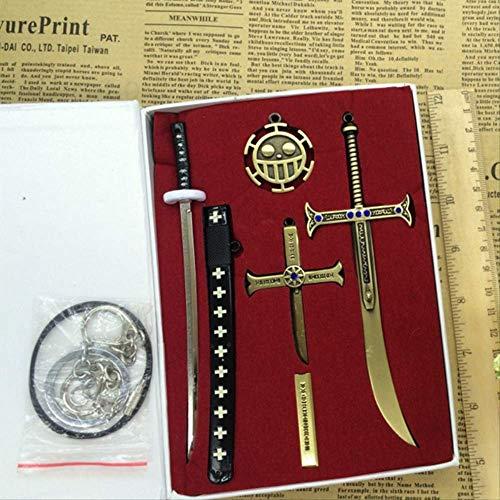 QWYU 6 Stück/Set Trafalgar Law Holder Dracule Mihawk Schwarzes Schwert Spielzeug Schlüsselanhänger Männer Chaveiro Cosplay