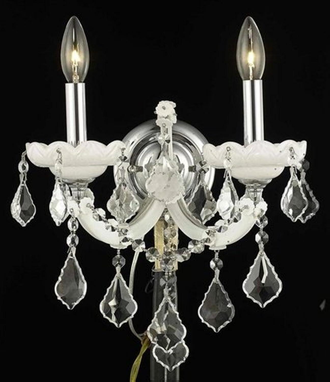エレガントな照明Maria Theresaコレクション2-light壁取り付け用燭台、エレガントなカットクリスタル、ホワイト仕上げ