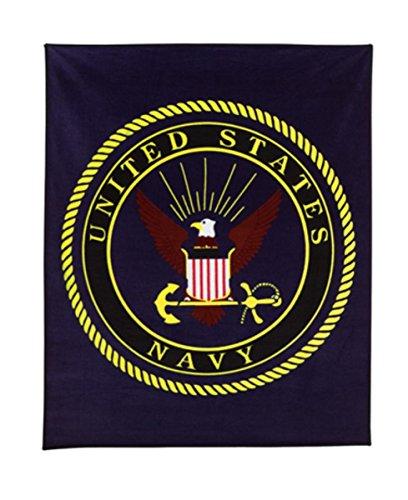 """Rothco Military Insignia Fleece Blankets, 50"""" x 60"""", Navy"""