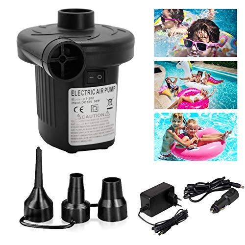 wolketon Elektrische Luftpumpe, 2 in 1 Elektropumpe mit 3 Luftdüse Kompressor für Luftmatratzen, Schlauchboote, Gästebetten, Aufblasbare Schwimmtiere Camping