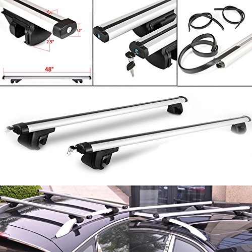 Barra transversal de aluminio y universal para techo de coche; accesorio de carga de equipaje con bloqueo antirrobo, 122 cm