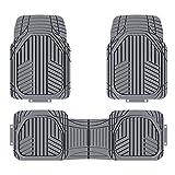Amazon Basics - Alfombrilla de goma ultrarresistente para coches, todocaminos y camiones hecha para todas las estaciones, gris (3 unidades)