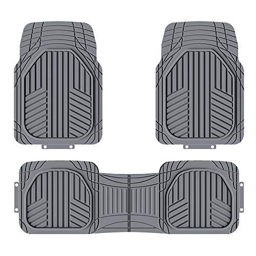 Amazon Basics 3 Stück strapazierfähige Ganzjahres-Bodenmatten aus Gummi für Pkw, SUV und Lkw, Grau