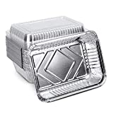 XIAFEI 2LB Aluminum Pans with Clear Lids (30PACK), Take-Out Containers, Heavy Duty Recyclable Aluminum Foil with Strong Seal for Freshness & Spill Resistance (8.26' x 5.7' x 1.77')