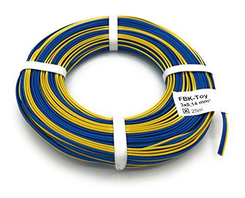 BELI-BECO L318/25 Kabel - Kupferlitze 3 x 0,14 mm² (1x18x0,10 mm) - Drillingsleitung - 25 m Ring (Märklin-Farben: Blau-Blau-Gelb)
