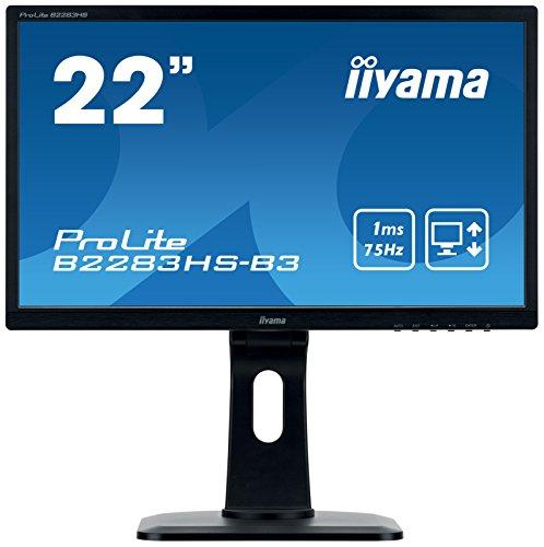 Iiyama Prolite B2283HS-B3 54, 7cm (22 Zoll) LED-Monitor Full-HD (VGA, HDMI, DisplayPort, Höhenverstellung, Pivot) Schwarz