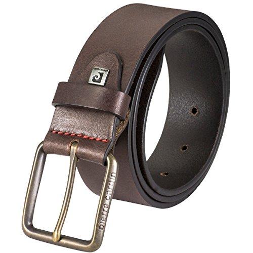 Pierre Cardin Cinturón de piel para hombre, piel vegana, color marrón oscuro marrón 85 cm