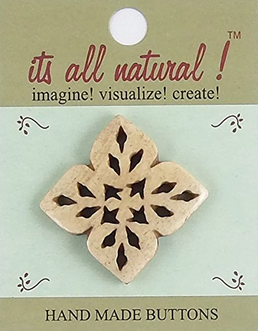 Handmade Natural Bone Buttons - Sewing Quilting Knitting Crochet Renaissance Dance Hawaiian Bridal Costumes Outfit Drapery Home Decor- Antique Ivory - 26x33mm - Aztec Flower Cut Out - 1 pc/pk. #1931