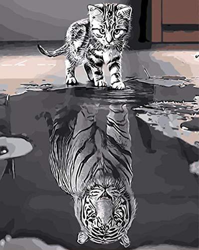 DOORWD Ölgemälde durch Zahlen Katze Tiger DIY handgemalte Bilder Leinwand Malerei Wohnzimmer Wand Kunst Home Decor Geschenk - 40x50cm ohne Rahmen