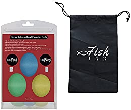 FISH 153 Arthritis Pain Management Stress Relief Ball Hand Exercise Squeeze Egg Finger and Grip Strengthening Physical Therapy Rehab - Set of 3 Squishy Resistance (Soft, Medium, Firm)