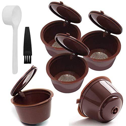 Yisily Las Cápsulas De Café De Filtro De Café Tazas Plásticas Cápsulas del Filtro Filtrar Recargable Reutilizable Bolsitas De Café Dolce Gusto para Máquinas (Brown)