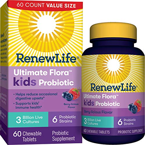 Renew Life Kids Probiotics 3 Billion CFU Guaranteed, 6 Strains, Shelf Stable, Gluten Dairy & Soy Free, 60 Chewable Tablets, Ultimate Flora Kids Probiotics Berry-licious (Packaging May Vary)