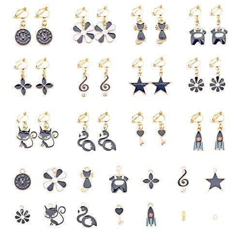 SUNNYCLUE 1 Box DIY 12 Pairs Clip On Earrings Cute Black Themed Clip On Earring Making Kit for Little Girls and Women Jewelry Making Supplies