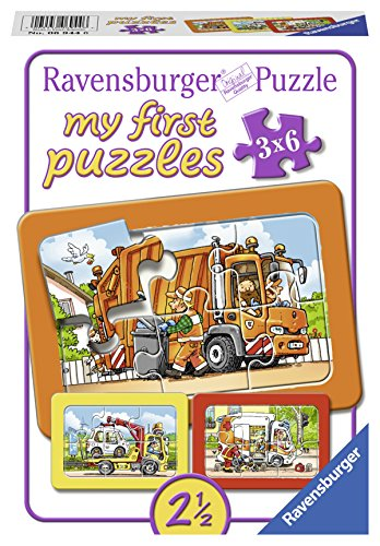 Ravensburger Kinderpuzzle 06944 - Müllabfuhr, Krankenwagen, Abschleppwagen - My first puzzle - Rahmenpuzzle
