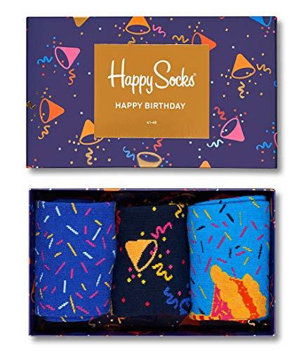 Happy Socks Gemischt farbenfrohe Geschenkbox an Baumwollsocken für Männer und Frauen,Mehrfarbig (Singing Birthday Gift Box),36-40