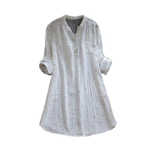 a63c16b63b41 Robe Chemise Femme Carreaux en Lin et Coton Col Boutonné Manche Longue Tonsi