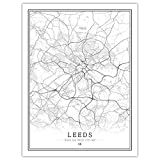 Leinwand Bild,Uk Leeds City Map Wall Art Schwarz Weiss