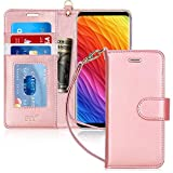Galaxy S8 Case, Samsung Galaxy S8 Case, FYY[RFID Blocking Wallet Case] 100% Handmade Flip Folio Case [Kickstand Feature] with ID&Credit Card Protector for Samsung Galaxy S8(NOT for S8 Plus) Rose Gold