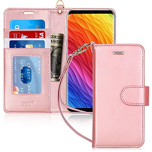 FYY Wallet Phone Case for Samsung Galaxy S8, Flip Protective Case Cover with [Card Holder] [Wrist Strap] for Samsung Galaxy S8 Rose Gold