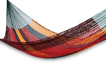 NOVICA Red Yellow Brown Striped Hand Woven Cotton Mayan 1 Person Rope Hammock Red Wine Sunset   Single