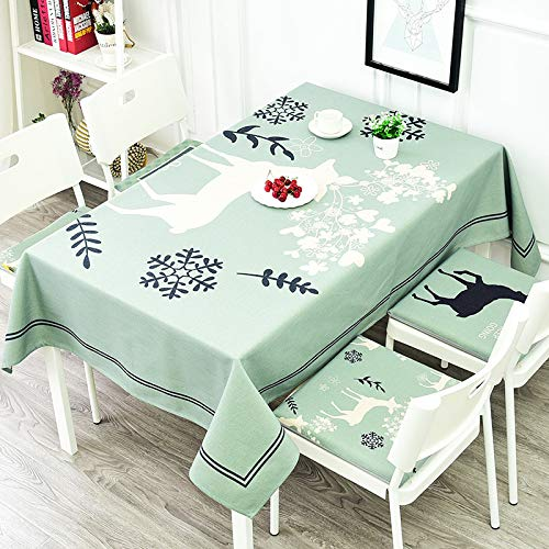 XIAOE Tablecloths Rectangular Gray Thickened Cotton Linen Wipe Clean Dust Proof Table Cover Geometric Checked Tablecloth Kitchen Dinning Tabletop Table Cover 140 * 230cm