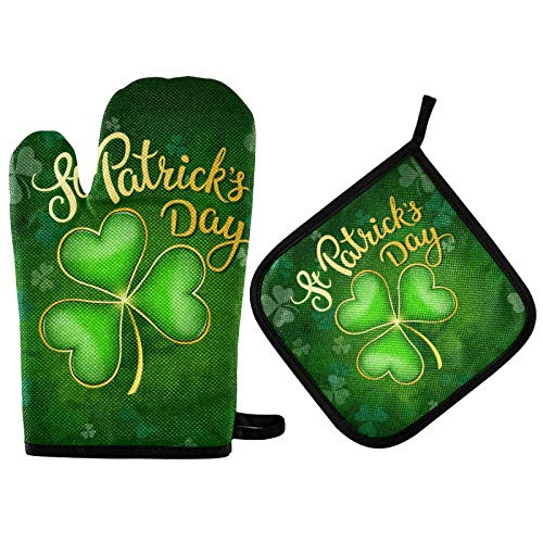 St Patricks Day Green Shamorck Oven Mitts and Pot Holders Sets Heat Resistant Non Slip Spring Flowers Elf Oven Gloves Hot Pads Insulated Washable for Cooking Baking BBQ Decorative Kitchen Gift