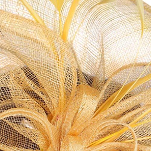 FHKGCD Mujeres Sinamay Clips para El Cabello Plumas Headwear Floral Fiesta Fascinator Boda Sombreros Diadema Fiesta Tocado, Amarillo,