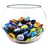 NEEZ Cristal Decorativo Cristal Redondeado Guijarros Piedras Granos Nuggets Azulejos Gemas para Decoración Floreros de Acuario Inicio (color mezclado-100pcs-500gm)