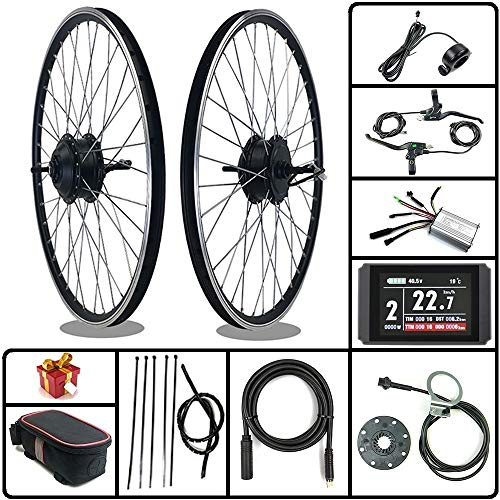 SCHUCK Electric Bike Modification kit is Suitable for 36V/48V 500W 16'/20'/24'/26'/27.5'/28'/29'/700C Rear-Rotate Motor with KT-LCD8H Display (36V 350W 24inch)