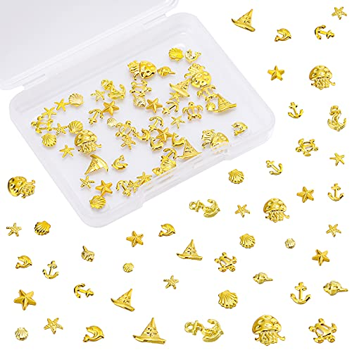 Kenning 120 Pieces Tiny Ocean Resin Filler Dolphin Coral Starfish Shell Jellyfish Shape Alloy Fillers for Home Beach Themed Party Wedding Candle Making Resin Projects DIY Fish Tank Vase Decors