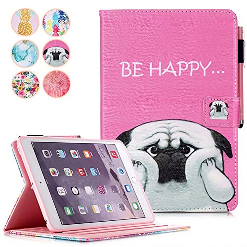 iPad Mini Case, Mini 5 Case Mini 4 3 2 1 Case Cover, MonsDirect PU Leather Folio Wallet Case Smart Sleep Wake Case with Kickstand Pencil Holder for iPad Mini 5 2019 Mini 1 2 3 4, Cute Dog