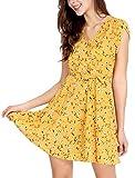 Allegra K Women's Boho Crossover V Neck Petal Sleeves Belted Floral Flowy Dress Yellow S (US 6)