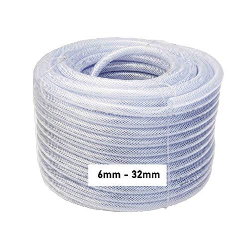 Reinforced PVC High Quality Tube Hose, Food Grade, Fish, Pond Aquariums, Air, Water 1-50 metres 6mm 8mm 10mm 12mm 16mm 19mm 25mm 32mm (3, ID 12mm x OD 15.4mm)
